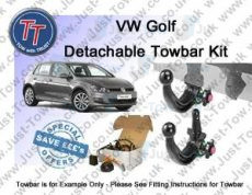 VW Golf (Mk7) TowTrust Detachable Towbar & 7 Pin Dedicated Electric Kit 2012 to Present