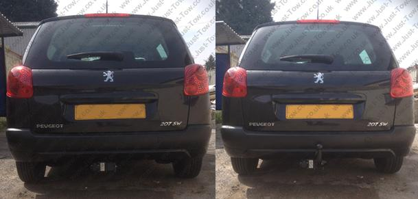 Peugoet 207 SW Estate 2007 to 2013 Fitted with PCT Horizontal Detachable Towbar PG6043A & Single Dedicated Electrics