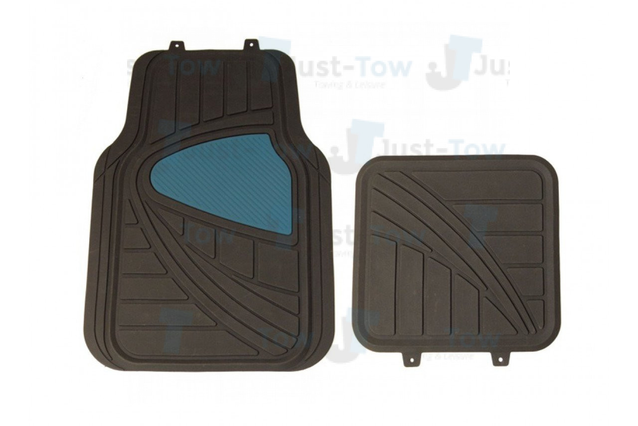 Black/Blue PVC Car Mat Set